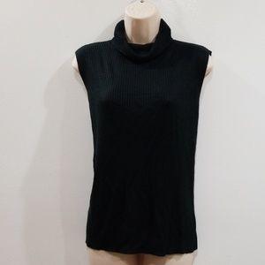 SAG HARBOR PETITE women's black turtleneck sweater